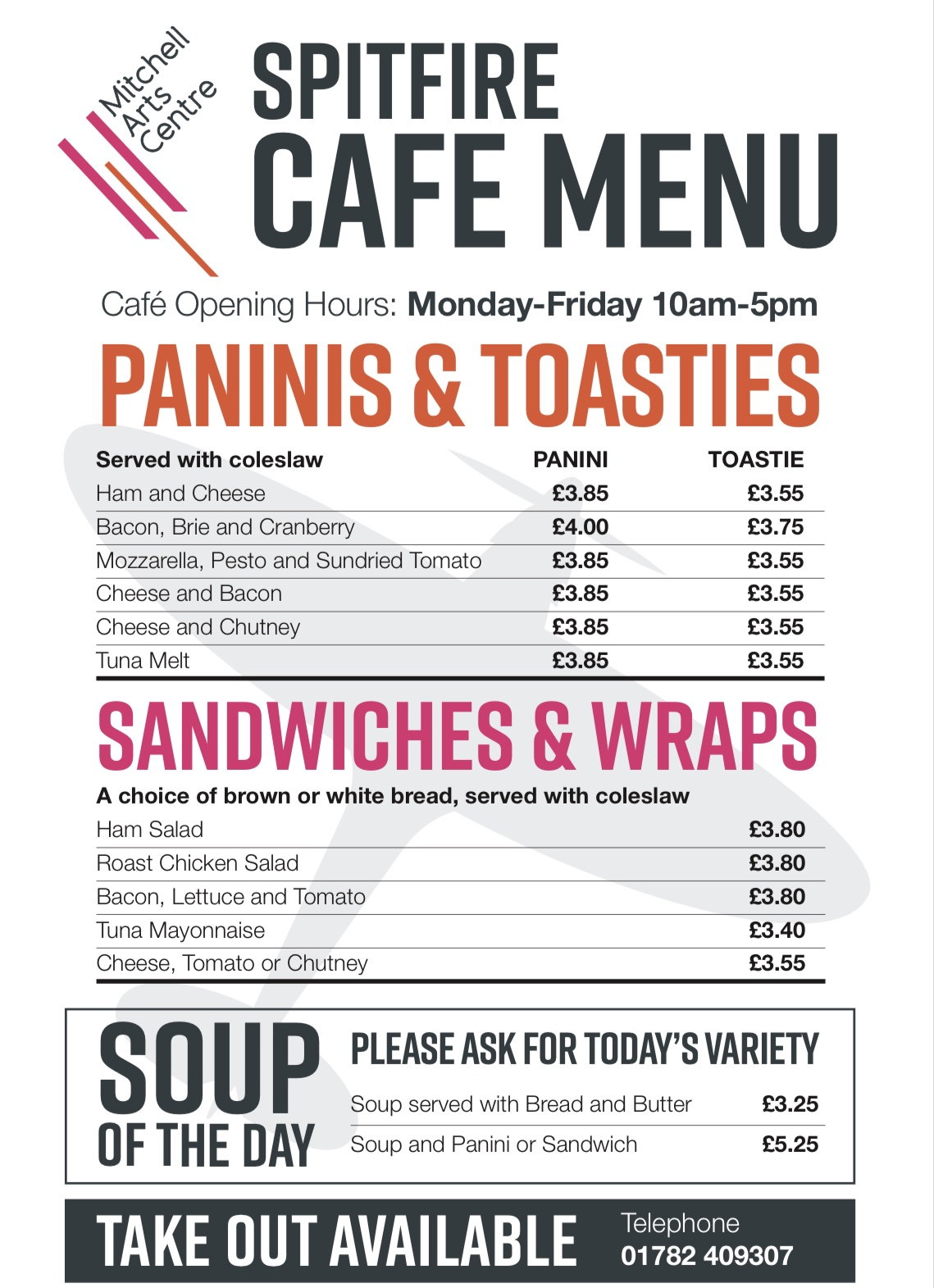 Spitfire cafe menu